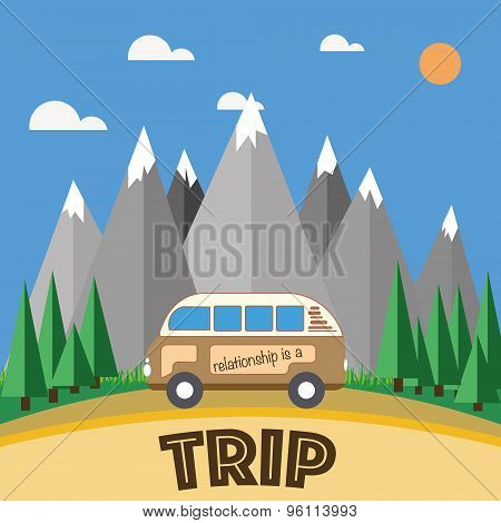 Road trip, mountain landscape