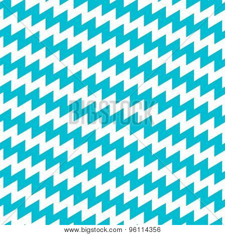 Turquoise And White Diagonal Chevron Seamless Pattern