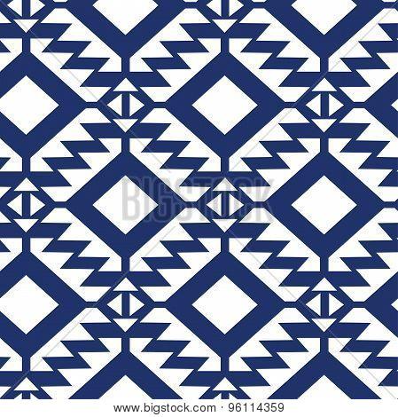 Tribal Blue And White Geometric Seamless Pattern