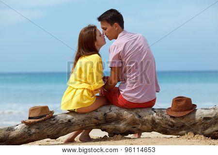 lovely couple sitting on log