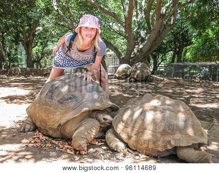Woman and big turtles