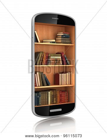 Smartphone With Bookshelf. E-book Library. Education Concept