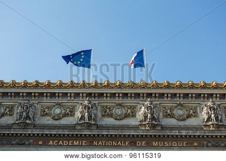 The Paris Opera or Garnier Palace.France. Opera House placed in Place de L'Opera. Designed by Charles Garnier in 1875. Neo Baroque Style.