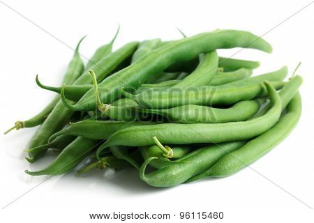 Whole French Green String Beans Isolated On White.