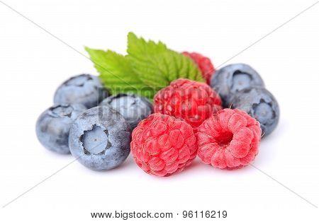 Fresh Raspberry And Blueberries