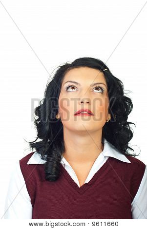 Head Shot Of Woman Looking Up