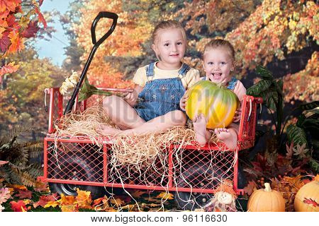 Adorable preschool sisters happily sitting in a work wagon on a beautiful fall day.  One holds a pumpkin in her lap, the others a tall flower off to her side.