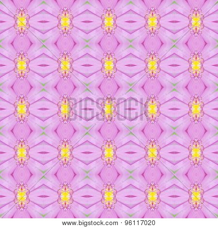 Waterlily Or Pink Lotus With Yellow Pollen Seamless