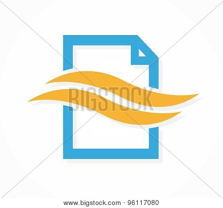 Vector logo combination of a document file and wave