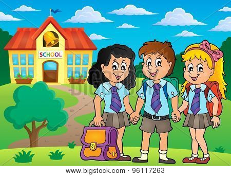 School pupils theme image 4 - eps10 vector illustration.