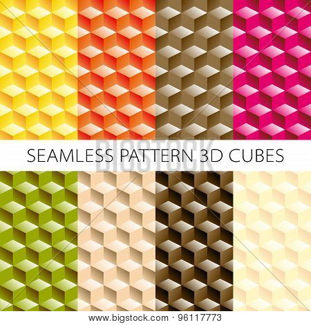 Isometric Cubes Set. Vector  Elements Games. Seamless Pattern.