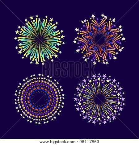 Party And Holiday Event Firework Icon Flat Set Isolated Vector