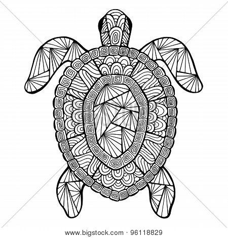 Stylized Vector Turtle, Zentangle