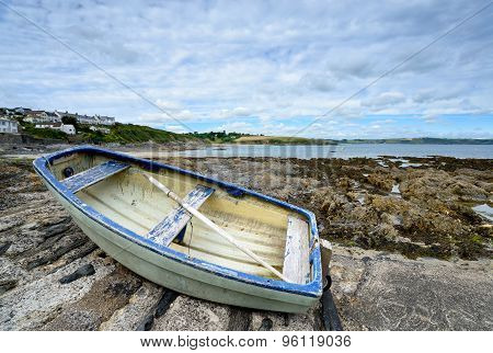 Boat At Portscatho On The Cornish Coastline