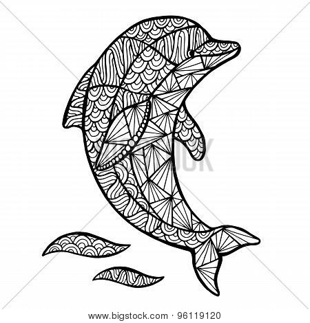 Stylized Vector Dolphin, Zentangle