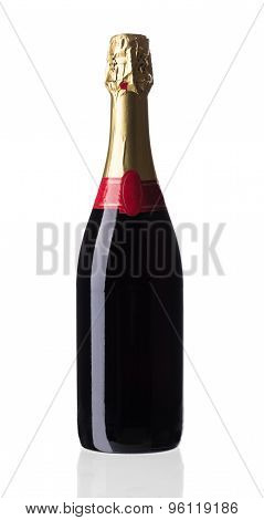 Close up of red champagne bottle.