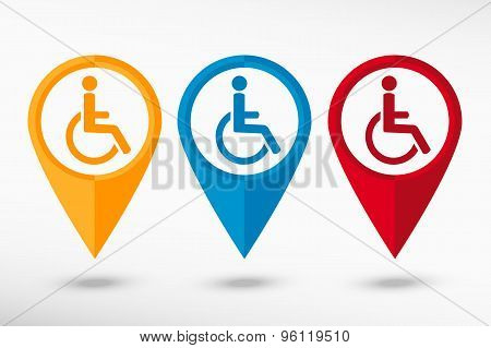 Disabled Handicap vector map pointer