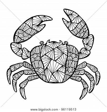 Stylized Vector Crab, Zentangle