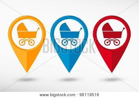Baby pram stroller sign icon. Baby buggy, vector illustration. Map pointer