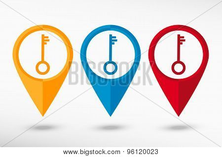 Key map pointer, vector illustration. Flat design style