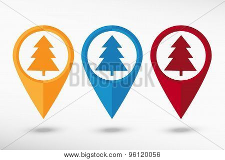 Spruce pine tree map pointer, vector illustration. Flat design style
