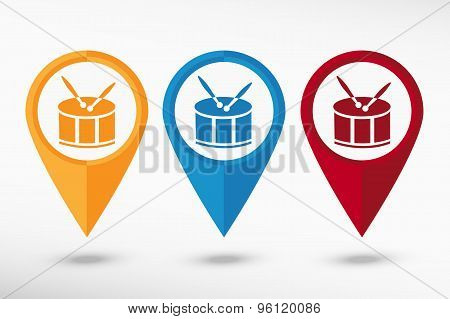 Drum Icon map pointer, vector illustration. Flat design style
