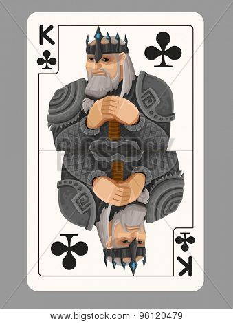 King of clubs playing card. Vector illustration