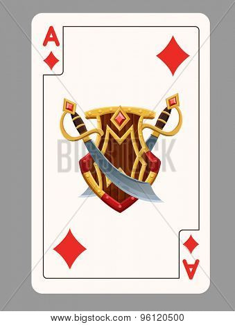 Ace of diamonds playing card. Vector illustration