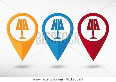 Table lamp icon map pointer, vector illustration. Flat design style