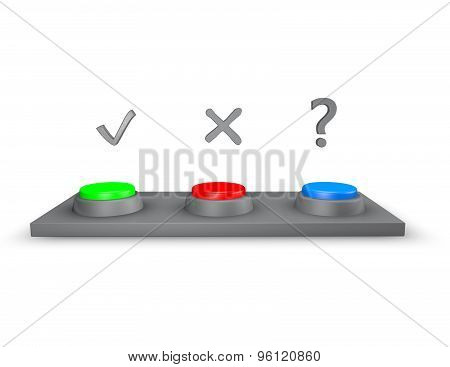 Choice Concept, Yes Non And Maybe Buttons