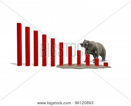 Stock Market Crash Illustration With Graph Going Down And Bear