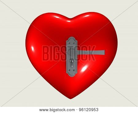 Locked Heart Abstract Concept With 3D Heart