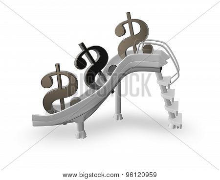 Money And Earnings Drop Down Abstract Concept With Dollar Symbols