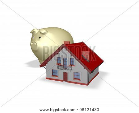 Housing And Economy Concept With Houses And Piggy Bank