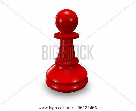 Red Chess Pawn Isolated On White