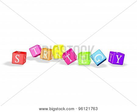 Strategy Concept With Colorful Dices Isolated