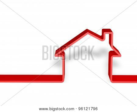 Home Red 3D Silhouette Isolated On White Background