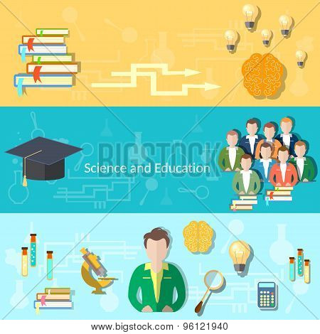Science And Education, Training, Student, Brain, Thinking, College, University, vector banners