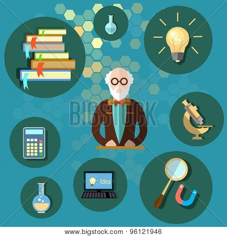 Education And Science Professor Teacher University College School Textbooks vector illustration