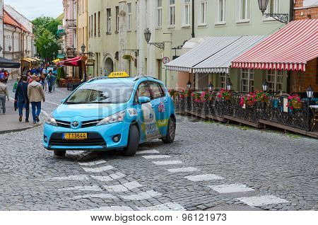Taxis In The Street Of Old Town, Vilnius, Lithuania