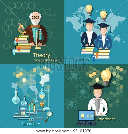 Science And Education, Proffesor, International Education, Students, College,vector icons