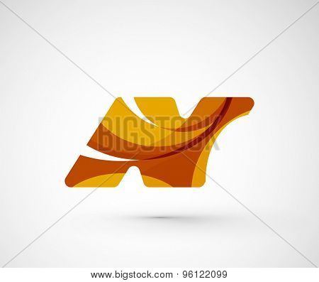 Abstract geometric company logo N letter. Vector illustration of universal shape concept made of various wave overlapping elements
