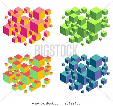 Floating Isometric Group Of Cubes Composition Over White