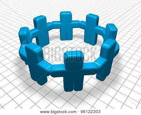 Blue Team Together On Grid Background