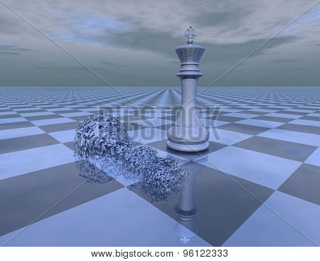 Win Loose Abstract Concept With Chess King And Chattered Chess Piece