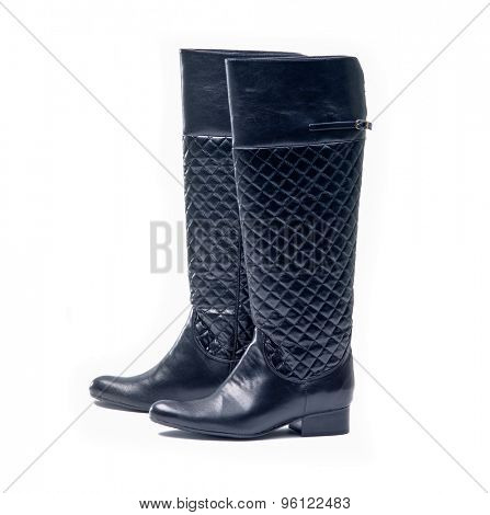 Black,suede boots on white background
