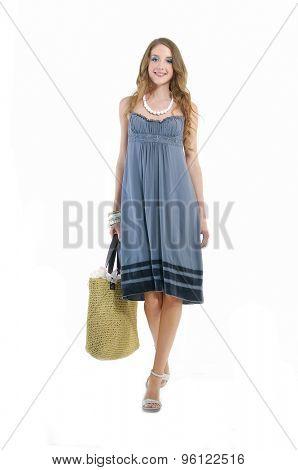 Full body fashion model clothes holding handbag posing-whtite background
