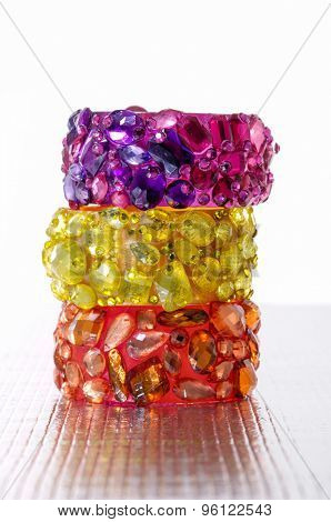 Stacked of glamour colorful female bracelet