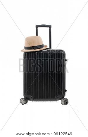 Woman hat,with luggage isolated