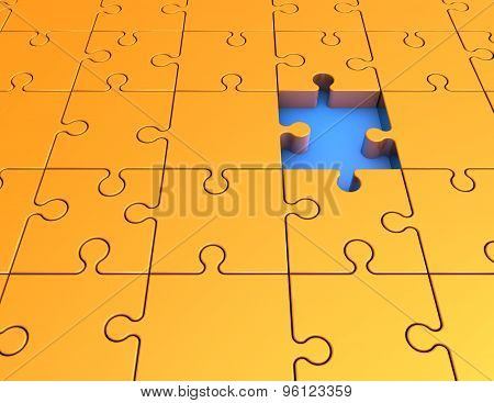 Abstract Illustration With Yellow Jigsaw Puzzles.